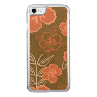 Teste padrão havaiano do hibiscus do pêssego e do capa iPhone 7 carved
