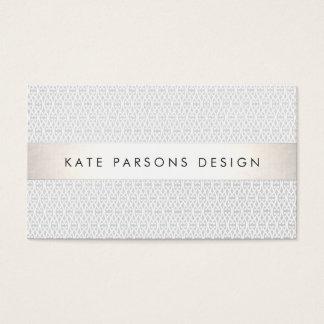 Teste padrão listrado da prata chique elegante do cartão de visita