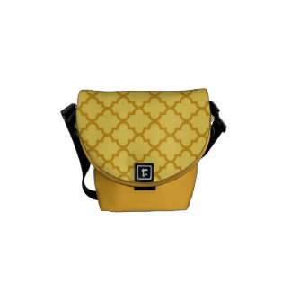 Teste padrão marroquino do azulejo do amarelo da m bolsas mensageiro