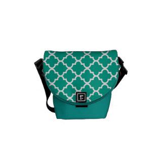 Teste padrão marroquino do azulejo do verde esmera bolsa mensageiro