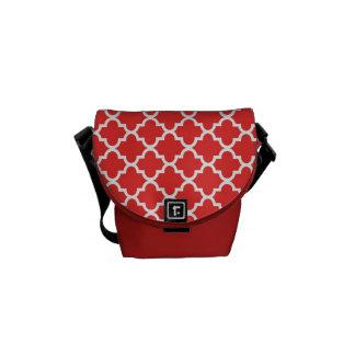 Teste padrão marroquino do azulejo do vermelho de  bolsas mensageiro