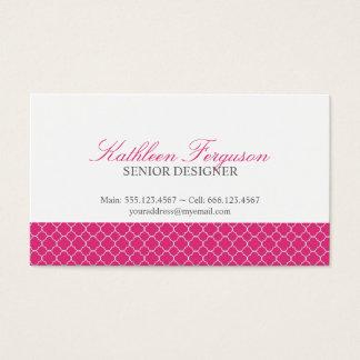 Teste padrão moderno do trevo do rosa quente de cartão de visitas
