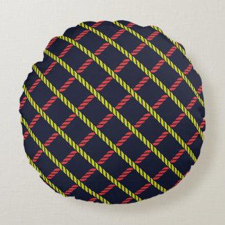 Teste padrão náutico colorido da corda almofada redonda