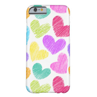 Teste padrão pastel esboçado dos corações do amor capa barely there para iPhone 6