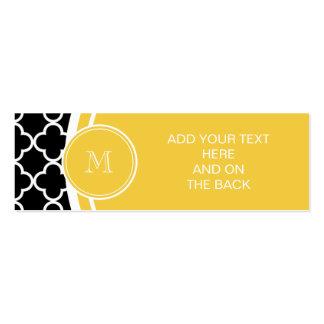 Teste padrão preto de Quatrefoil, monograma amarel Cartões De Visita