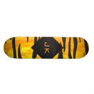 Teste padrão preto e alaranjado do tigre do shape de skate 21,6cm