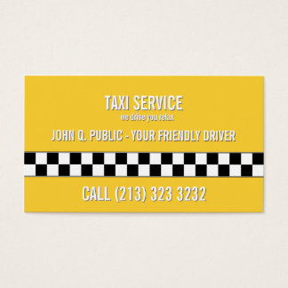 Teste padrão preto e branco do motorista de táxi cartão de visitas