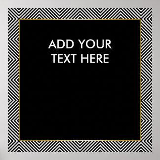 Teste padrão preto e branco geométrico moderno do pôster