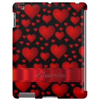 Teste padrão preto romântico do coração capa para iPad
