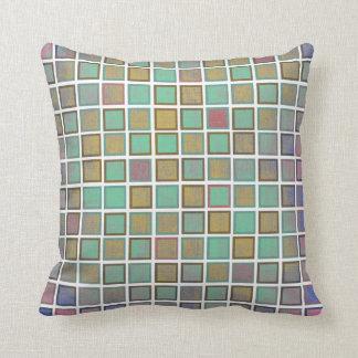 Teste padrão quadrado na moda. Travesseiros Almofada