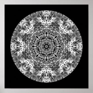 Teste padrão redondo decorativo preto e branco poster