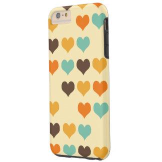 Teste padrão retro dos corações das cores capas iPhone 6 plus tough