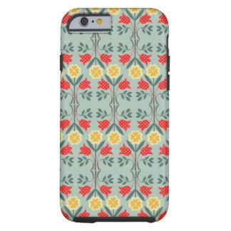 Teste padrão retro floral do hipster do fairisle capa tough para iPhone 6