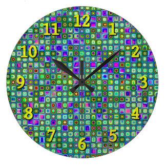 Teste padrão retro Funky do verde, o azul e o roxo Relógios De Paredes