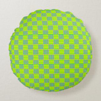 Teste padrão retro geométrico almofada redonda