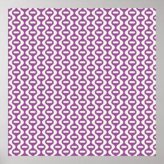Teste padrão retro ondulado roxo da lavanda posters
