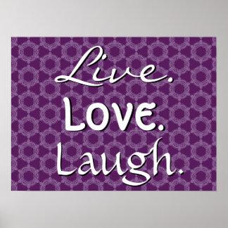Teste padrão retro roxo 012 do riso vivo do amor pôster