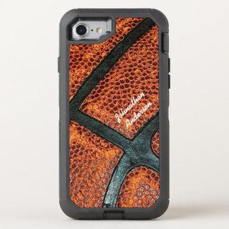 Teste padrão retro velho do basquetebol com nome capa para iPhone 7 OtterBox defender