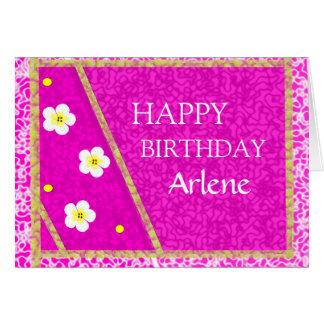 Teste padrão roxo bonito e aniversário das flores cartão comemorativo