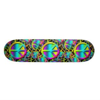 Teste padrão sem emenda da PAZ colorida + suas Shape De Skate 18,4cm