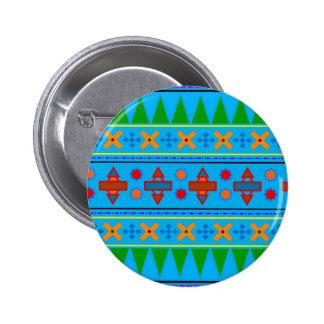 Teste padrão tribal asteca dos azul-céu do arco-ír botons