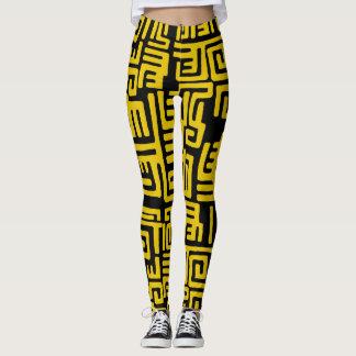 Teste padrão tribal do africano negro amarelo leggings