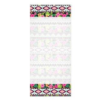 Teste padrão tribal dos Wildflowers cor-de-rosa 10.16 X 22.86cm Panfleto