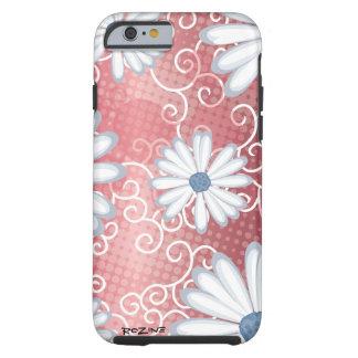 Teste padrão tribal floral azul branco vermelho do capa tough para iPhone 6