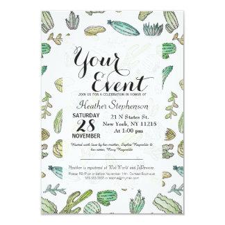 Teste padrão verde bonito do cacto do verão da convite 8.89 x 12.7cm