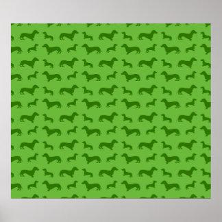 Teste padrão verde-claro bonito do dachshund poster