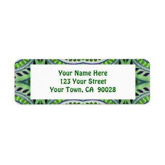 teste padrão verde da folha etiqueta endereço de retorno