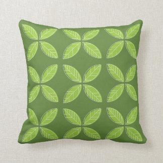 Teste padrão verde da folha - travesseiro almofada