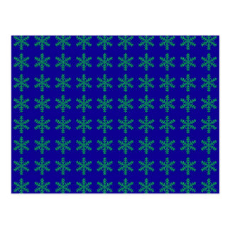 Teste padrão verde do floco de neve com fundo azul cartões postais