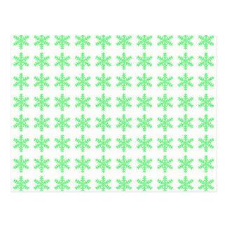 Teste padrão verde do floco de neve com fundo bran cartoes postais