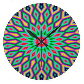 Teste padrão verde e azul da arte abstracta na relógio grande