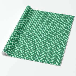 Teste padrão verde e branco papel de presente