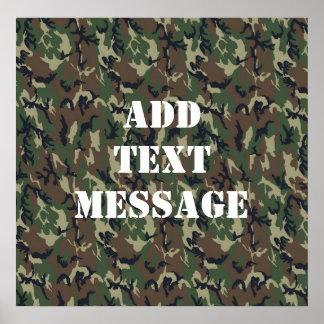 Teste padrão verde militar da camuflagem poster