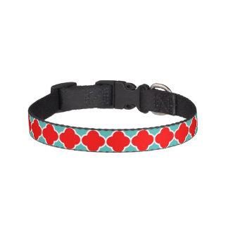 Teste padrão vermelho de Quatrefoil da cerceta Correntes De Cachorro