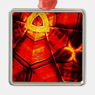 Teste padrão vermelho desvanecido ornamento quadrado cor prata