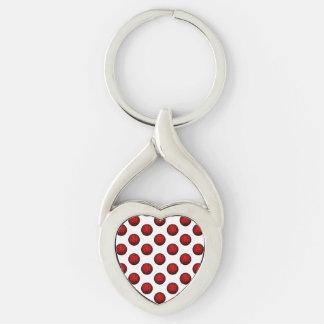 Teste padrão vermelho do basquetebol chaveiro coração torcido cor prata