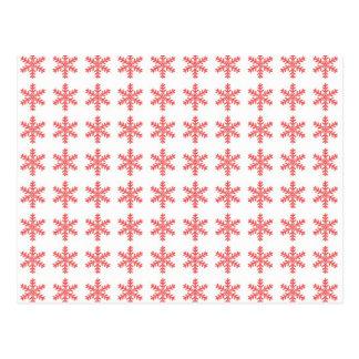 Teste padrão vermelho do floco de neve com fundo b cartão postal