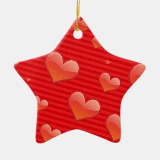 Teste padrão vermelho dos corações ornamento de cerâmica estrela