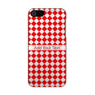 Teste padrão vermelho e branco do diamante por capa metálica para iPhone SE/5/5s