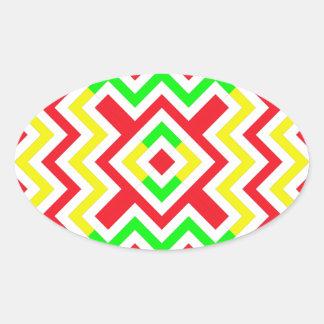 Teste padrão vermelho verde e amarelo de Chevron Adesivos Oval