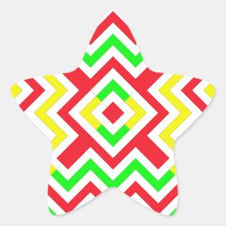 Teste padrão vermelho verde e amarelo de Chevron Adesivos Em Forma De Estrelas