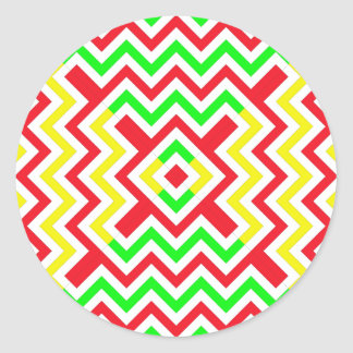 Teste padrão vermelho verde e amarelo de Chevron Adesivos