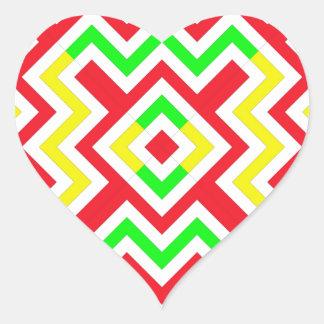 Teste padrão vermelho verde e amarelo de Chevron Adesivos Em Forma De Corações