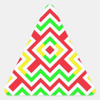 Teste padrão vermelho verde e amarelo de Chevron Adesivo Em Forma De Triângulo