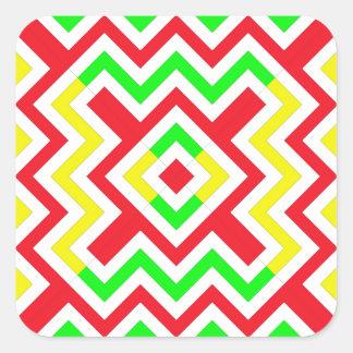 Teste padrão vermelho verde e amarelo de Chevron Adesivos Quadrados