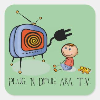 Tevê da droga da tomada N AKA Adesivo Quadrado